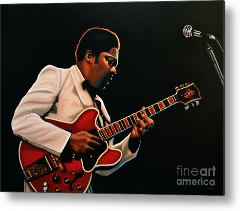 Bb King Metal Print featuring the painting B. B. King by Paul Meijering