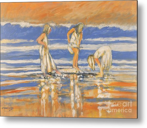 Girls Metal Print featuring the painting Beach Friends by Kip Decker