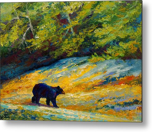 Bear Metal Print featuring the painting Beach Lunch - Black Bear by Marion Rose