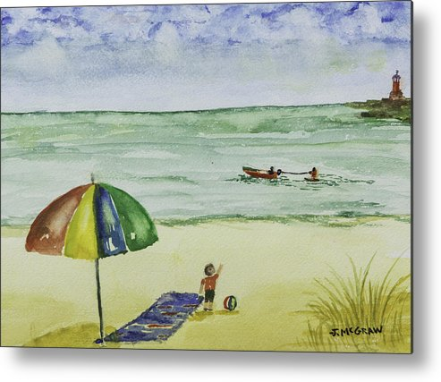 Painting Metal Print featuring the photograph Beach Time by Jim McGraw