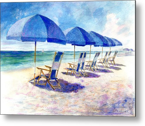 Beach Metal Print featuring the painting Beach Umbrellas by Andrew King