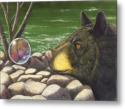Black Bear Metal Print featuring the painting Bear Bubble by Catherine G McElroy