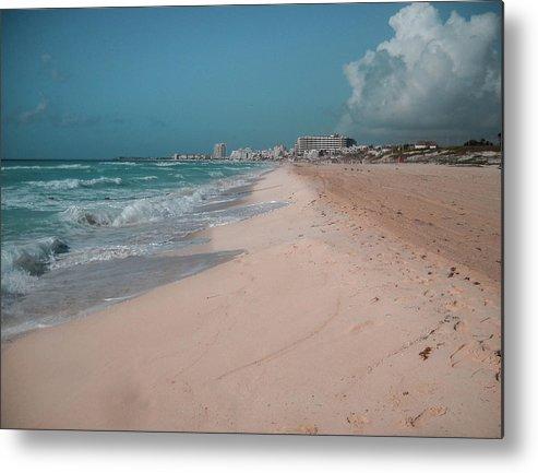 Beach Metal Print featuring the digital art Beautiful Beach In Cancun, Mexico by Nicolas Gabriel Gonzalez