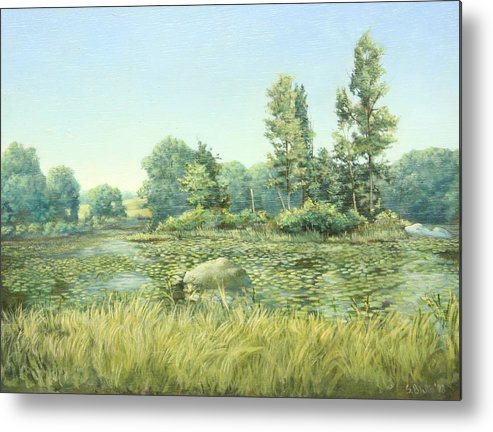 Landscape Metal Print featuring the painting Beavor Pond by Stephen Bluto