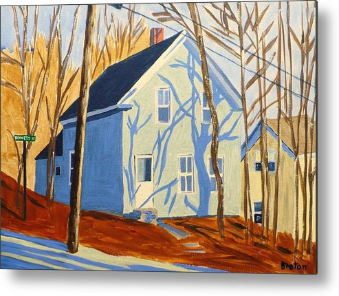 Landscape Metal Print featuring the painting Bennett Street Houses by Laurie Breton