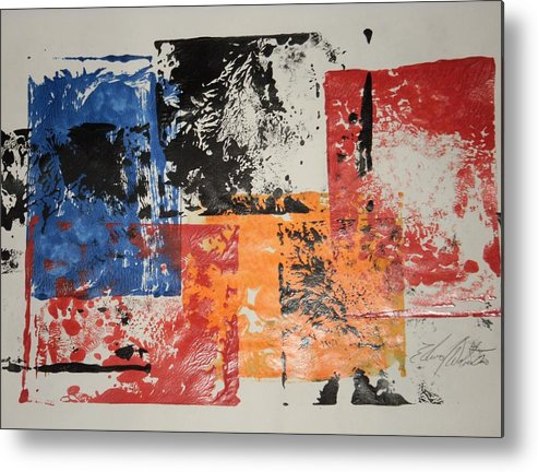 Abstract Metal Print featuring the painting Between Stop Signs by Edward Wolverton