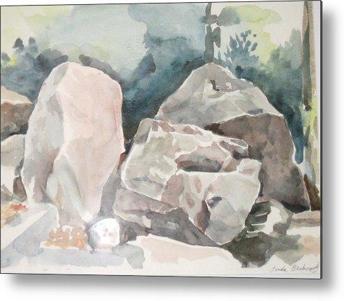Landscape Metal Print featuring the painting Big Rocks by Linda Berkowitz