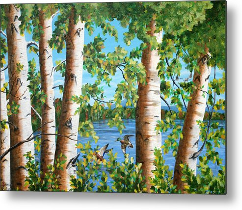 Landscape Metal Print featuring the painting Birches Along The Androscoggin River by Brenda Baker