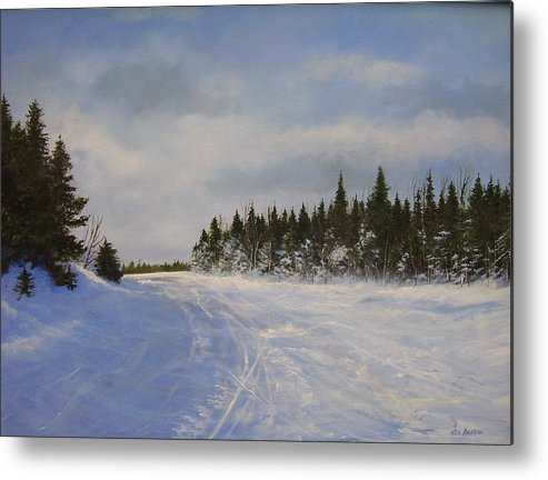 Ski. Snow Metal Print featuring the painting Blackbear Ski Trail by Ken Ahlering