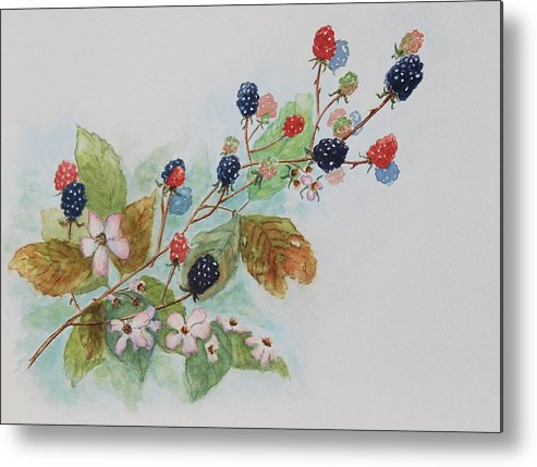 Blackberries Metal Print featuring the painting Blackberry Composition by Geraldine Leahy