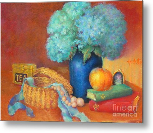 Floral Metal Print featuring the painting Blue Hydrangeas  Copyrighted by Kathleen Hoekstra