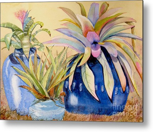 Succulents Metal Print featuring the painting Blue Pots by Midge Pippel