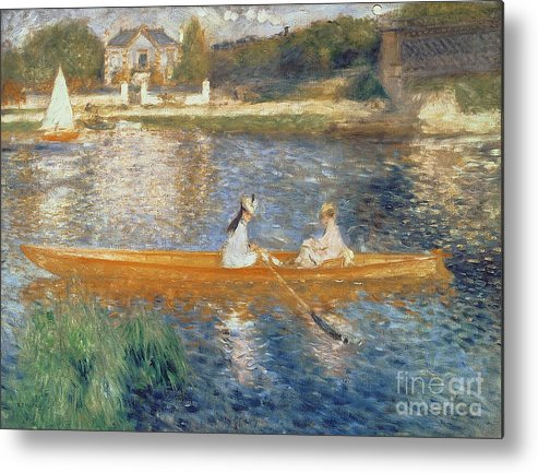 Boating On The Seine Metal Print featuring the painting Boating On The Seine by Pierre Auguste Renoir
