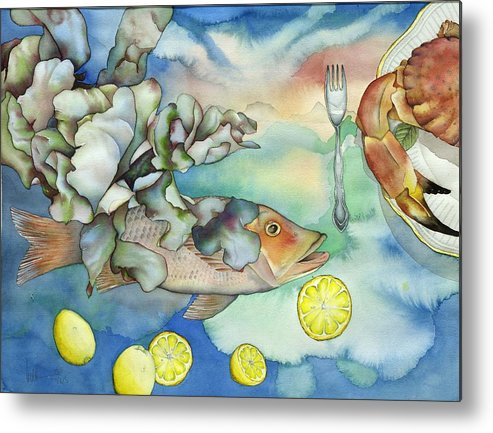 Sealife Metal Print featuring the painting Bon Appetit Together Left Image by Liduine Bekman
