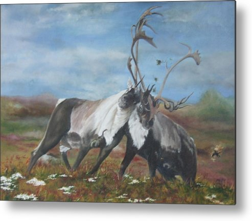 Nature Metal Print featuring the painting Boys Will Be Boys by Jane Simpson