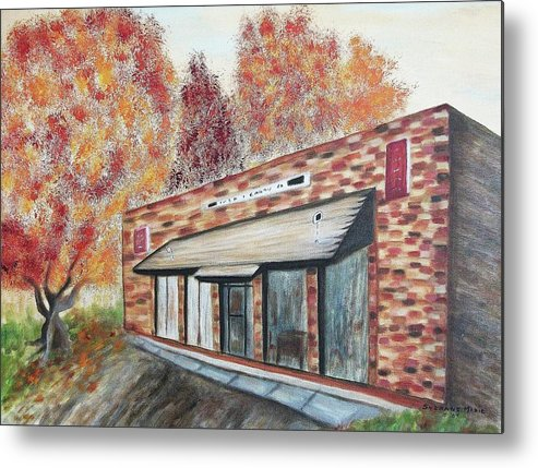 Building Metal Print featuring the painting Brick Building by Suzanne Marie Leclair