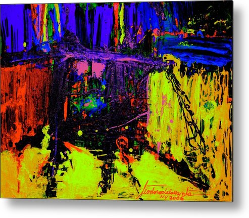 Mixed Media Metal Print featuring the painting Bridge Sudy 5 by Teo Santa