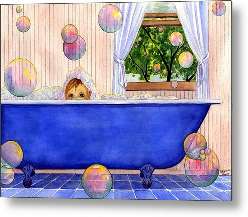 Bath Metal Print featuring the painting Bubbles by Catherine G McElroy