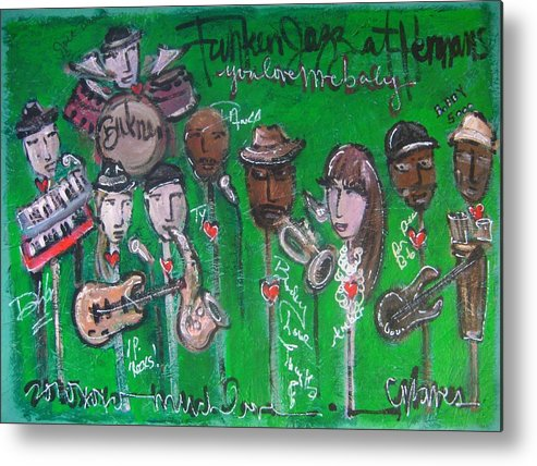 Buckner Funken Jazz Metal Print featuring the painting Buckner Funken Jazz by Laurie Maves ART