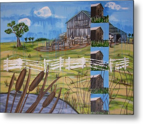 Farms Metal Print featuring the painting Bullrushes by Judy Anderson