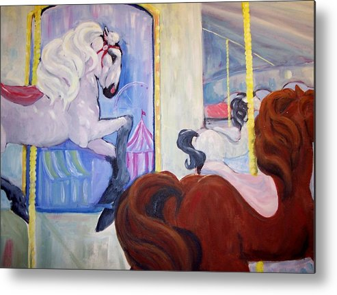Horse Metal Print featuring the painting Carousel by Andreia Medlin