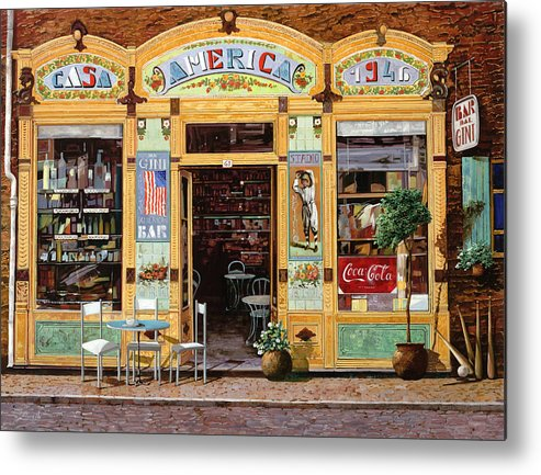 Coffe Shop Metal Print featuring the painting Casa America by Guido Borelli