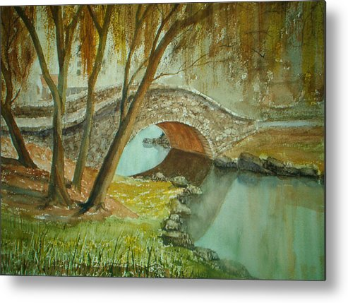 Landscape Metal Print featuring the painting Central Park Overpass by Shirley Braithwaite Hunt
