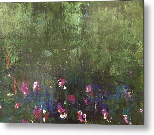 Green Metal Print featuring the painting Channeling Monet #1 by Selena Smith