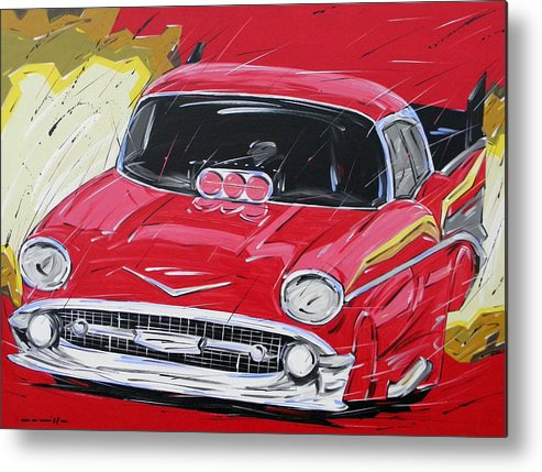 Cars Metal Print featuring the painting Chevy Drag by Roberto Muccilo