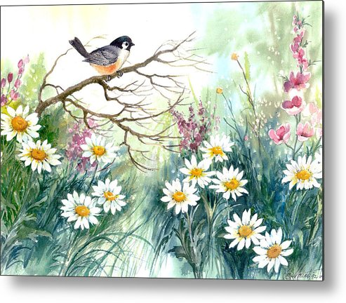 Chickadee;birds;daisies;floral;watercolor Painting; Metal Print featuring the painting Chickadee And Daisies by Lois Mountz