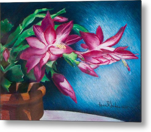 Floral Metal Print featuring the painting Christmas Cactus by Anne Rhodes