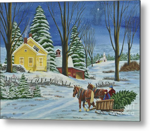 Winter Scene Paintings Metal Print featuring the painting Christmas Eve In The Country by Charlotte Blanchard