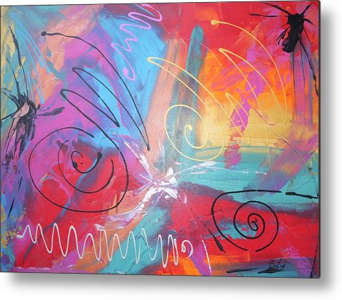 Abstract Metal Print featuring the painting Chronicles Of Color by Joey Santiago