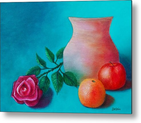 Sue Delain Metal Print featuring the painting Clay Pot Still Life by Susan DeLain