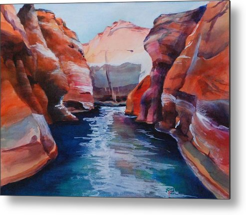 Seacape Metal Print featuring the painting Cliff Tapestries by Donna Pierce-Clark
