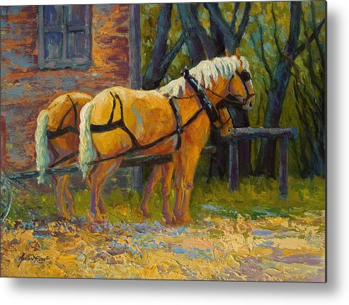 Horses Metal Print featuring the painting Coffee Break - Draft Horse Team by Marion Rose