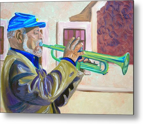 Street Musician Metal Print featuring the painting Confederate Bugular by Michael Lee