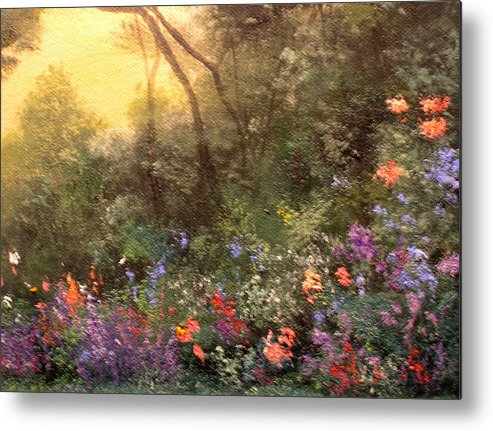 Connie Tom Metal Print featuring the painting Corner Of The Garden by Connie Tom
