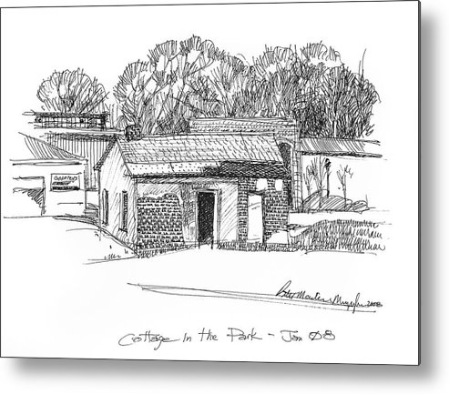 Pen And Ink Metal Print featuring the drawing Cottage In The Park by Peter Muzyka
