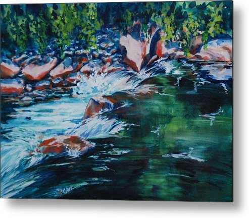 Watercolorcanvas Metal Print featuring the painting Covington Falls by Donna Pierce-Clark