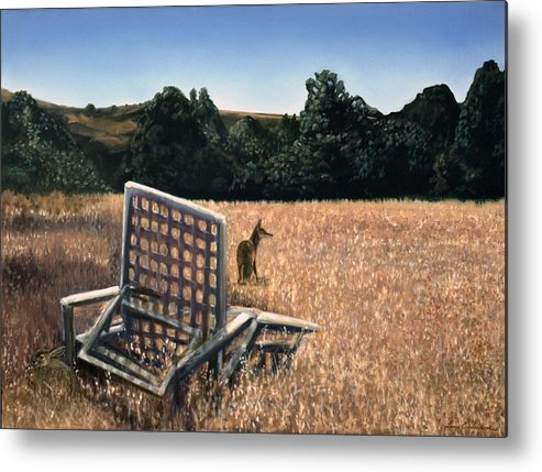 Animals Metal Print featuring the painting Coyote And Rabbit by Lance Anderson