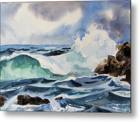 Ocean Metal Print featuring the painting Crashing Wave by Dianna Willman