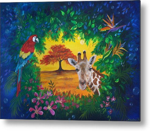 Giraffe Metal Print featuring the painting Crossing Into New Realms by Sundara Fawn