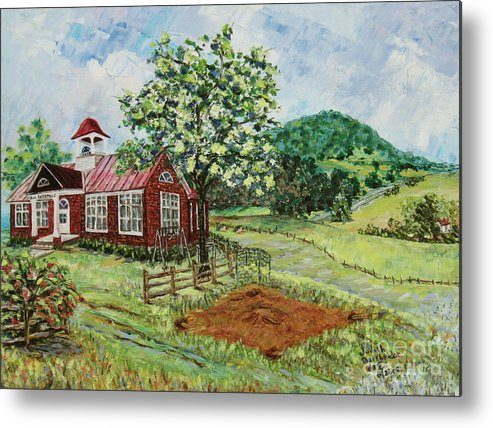 Landscape Metal Print featuring the painting Dale Enterprise School by Judith Espinoza