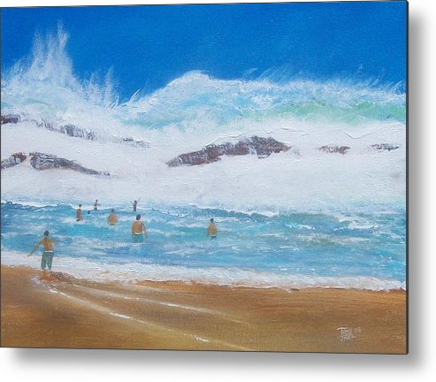 Seascape Metal Print featuring the painting Danger No Swimming by Tony Rodriguez