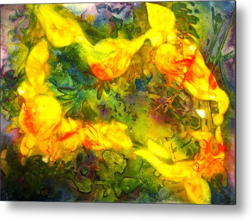 Abstract Metal Print featuring the painting Dappled Things by Starr Weems