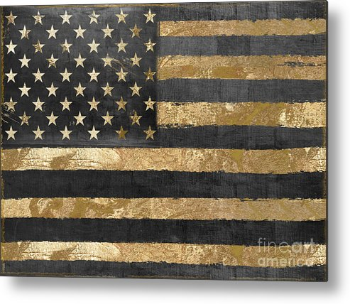 American Flag Metal Print featuring the painting Dawn's Early Light by Mindy Sommers