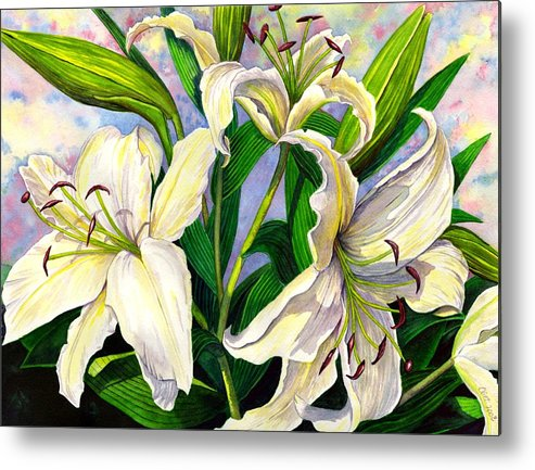 Lily Metal Print featuring the painting Daylilies 2 by Catherine G McElroy
