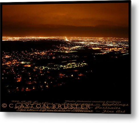 Clay Metal Print featuring the photograph Denver Area At Night From Lookout Mountain by Clayton Bruster