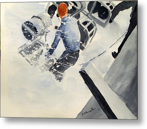 Navy Metal Print featuring the painting Depth Charge by Robert Thomaston